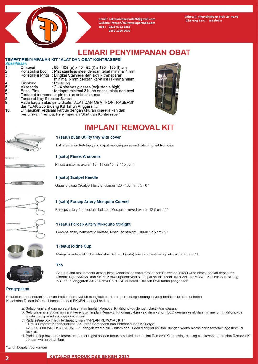 Lemari Alkon dan Implant Removal Kit 2018